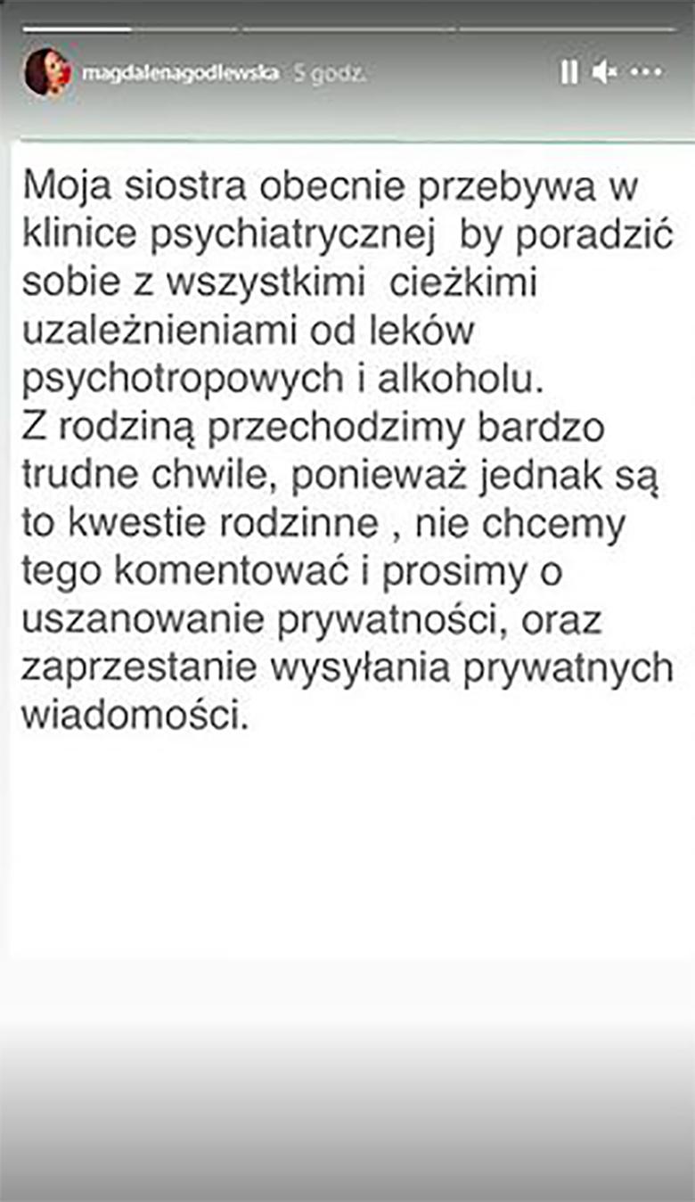 Magdalena Godlewska komentuje stan Esmeraldy Godlewskiej