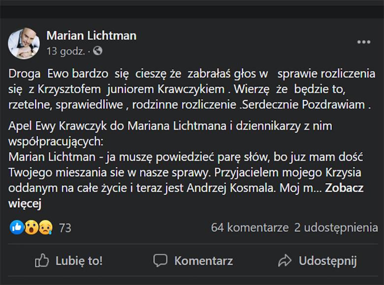 Marian Lichtman odpowiada Ewie Krawczyk