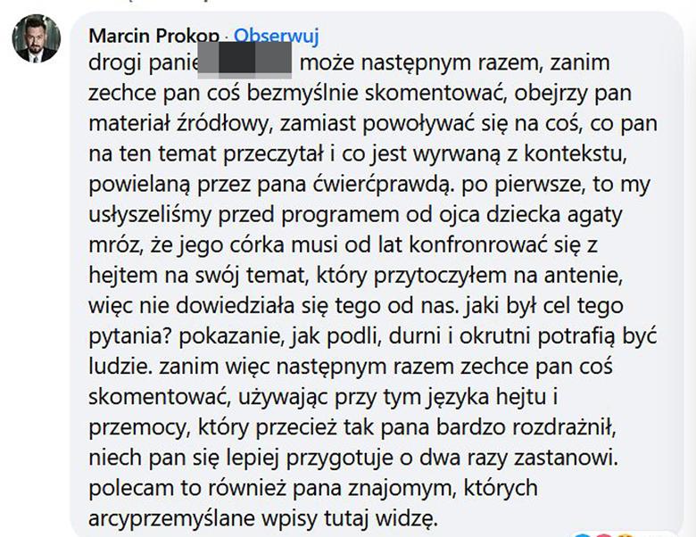 Marcin Prokop odpowiada na hejt