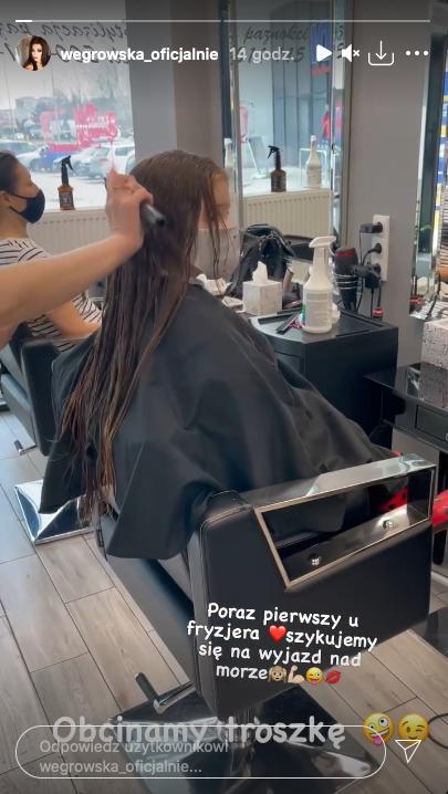 Córka Iwony Węgrowskiej u fryzjera