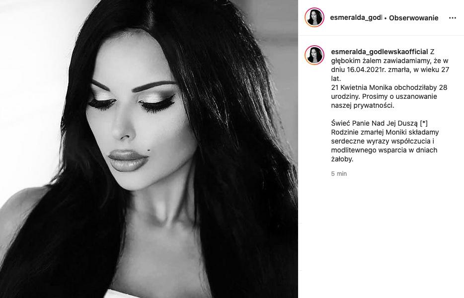 """Zdjęcie (1) Szokujący wpis na profilu Esmeraldy Godlewskiej: """"Z głębokim żalem informujemy, że zmarła"""". Internauci nie wiedzą jak to potraktować"""