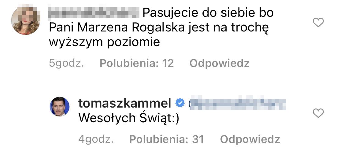 Internautka skomentowała post Tomasz Kammela