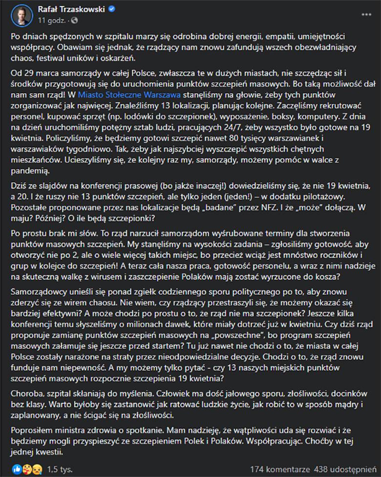 Rafał Trzaskowski o szczepieniach