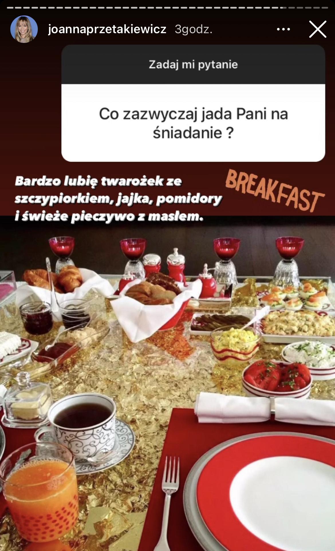 Joanna Przetakiewicz zdradziła, co je na śniadanie
