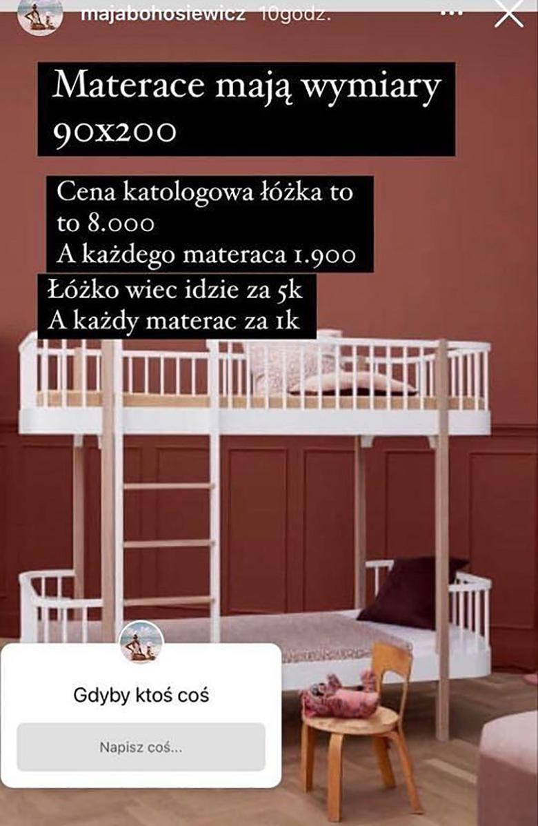 Maja Bohosiewicz sprzedaje piętrowe łóżko