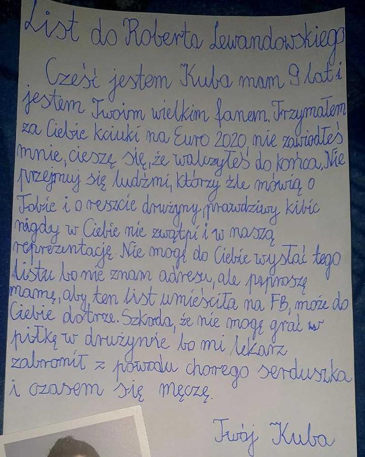 Robert Lewandowski otrzymał list o 9-letniego fana