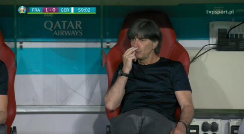 Joachim Loew mecz Francja - Niemczy Euro 2020, screen z TVP sport