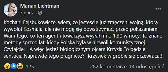 Marian Lichtman i Andrzej Kosmala - konflikt