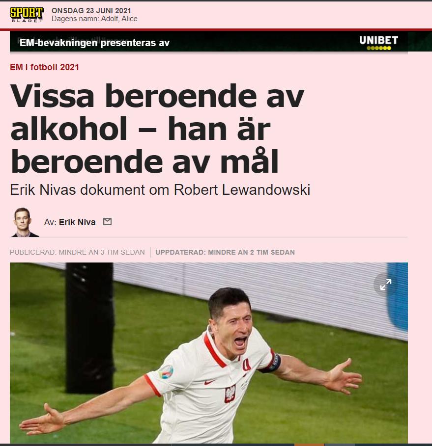 Robert Lewandowski bohaterem szwedzkiej prasy