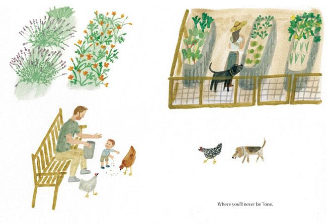 Ilustracja z książki The Bench napisanej przez Meghan Markle
