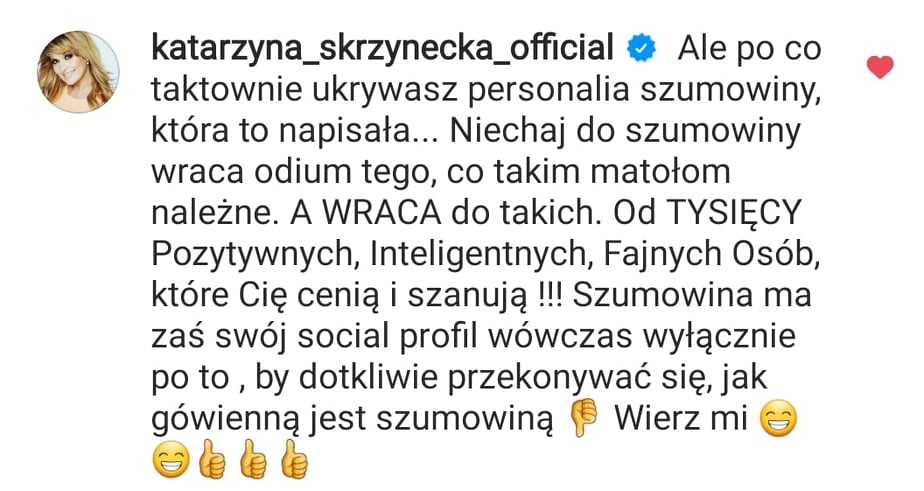 Katarzyna Skrzynecka komentuje wpis Koroniewskiej