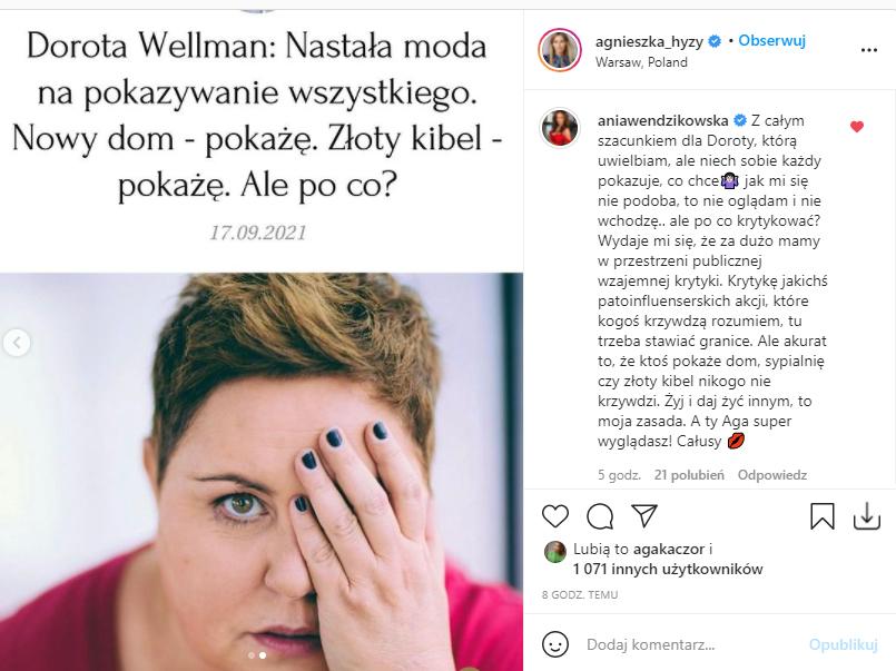 Anna Wendzikowska komentuje post Agnieszki Hyży
