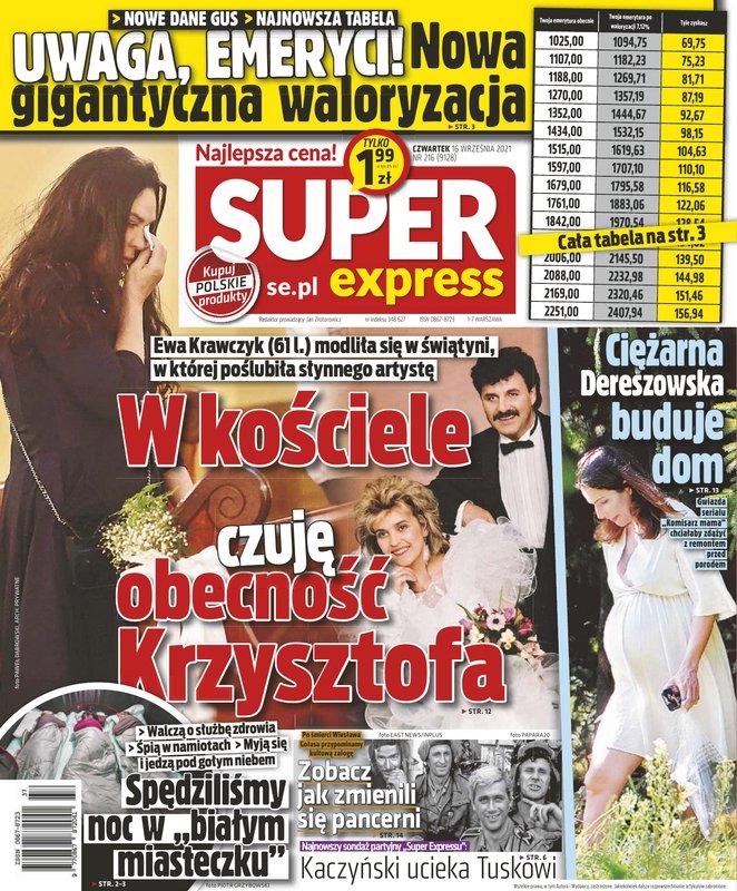Ewa Krawczyk w kościele – okładka Super Expressu