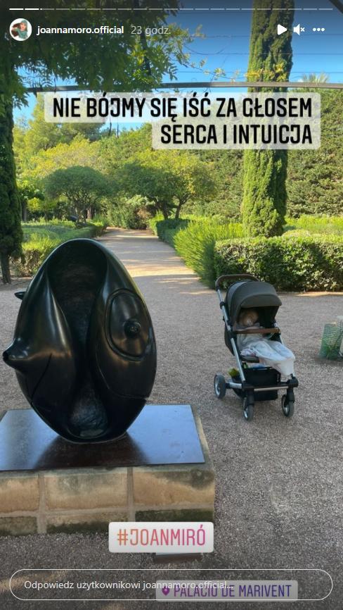 Skrin z InstaStories Joanny Moro